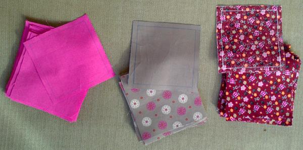 pedazos de tela cubo patchwork