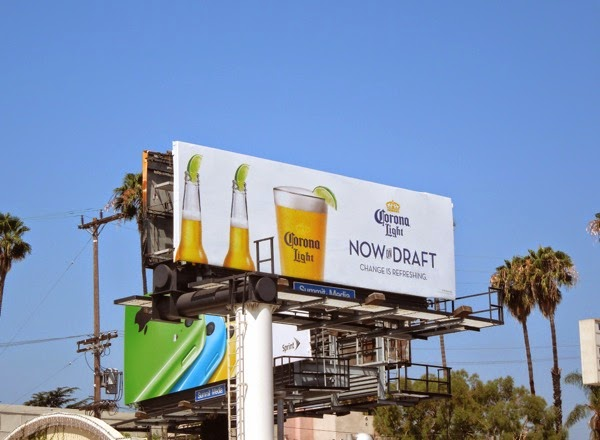 Corona Light Now on draft billboard