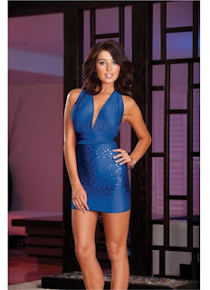 Microfiber Versatile Halter Dress and Thong (Wear Multiple Ways - Includes Instructions) Blue