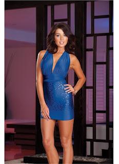 Microfiber Versatile Halter Dress and Thong (Wear Multiple Ways - Includes Instructions) Blue