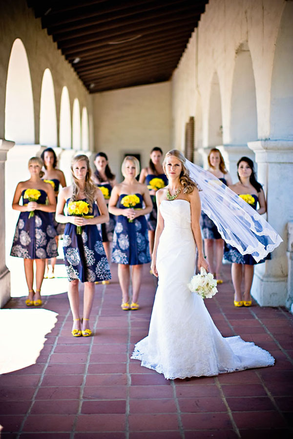 Dark blue strapless bridemaid dresses