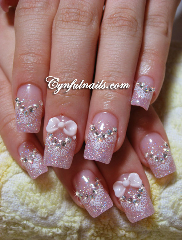Pink Glitter Tips And V Lace Design With Bows On The Thumbs As Well This Is A Different Scallop Totally OOS
