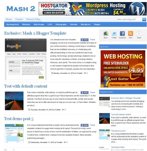 Mash2 Fast loading Premium Blogger Template