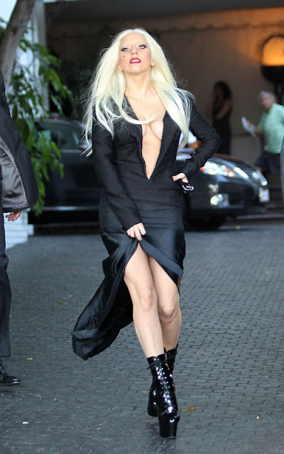 Lady GaGa braless leaving Chateau Marmont in Los Angeles