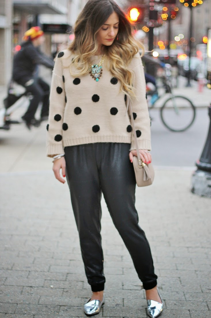 Polka Dot knit sweater with Sequin Pants and Statement Necklace