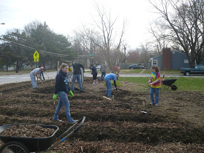 Group Starting a School Garden at Sunset Hill Elementary School in Lawrence, Kansas