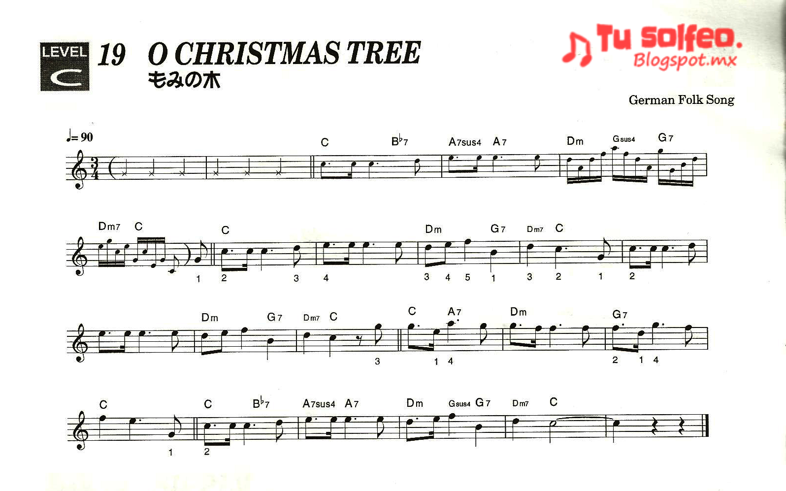 partitura navidad o christmas tree