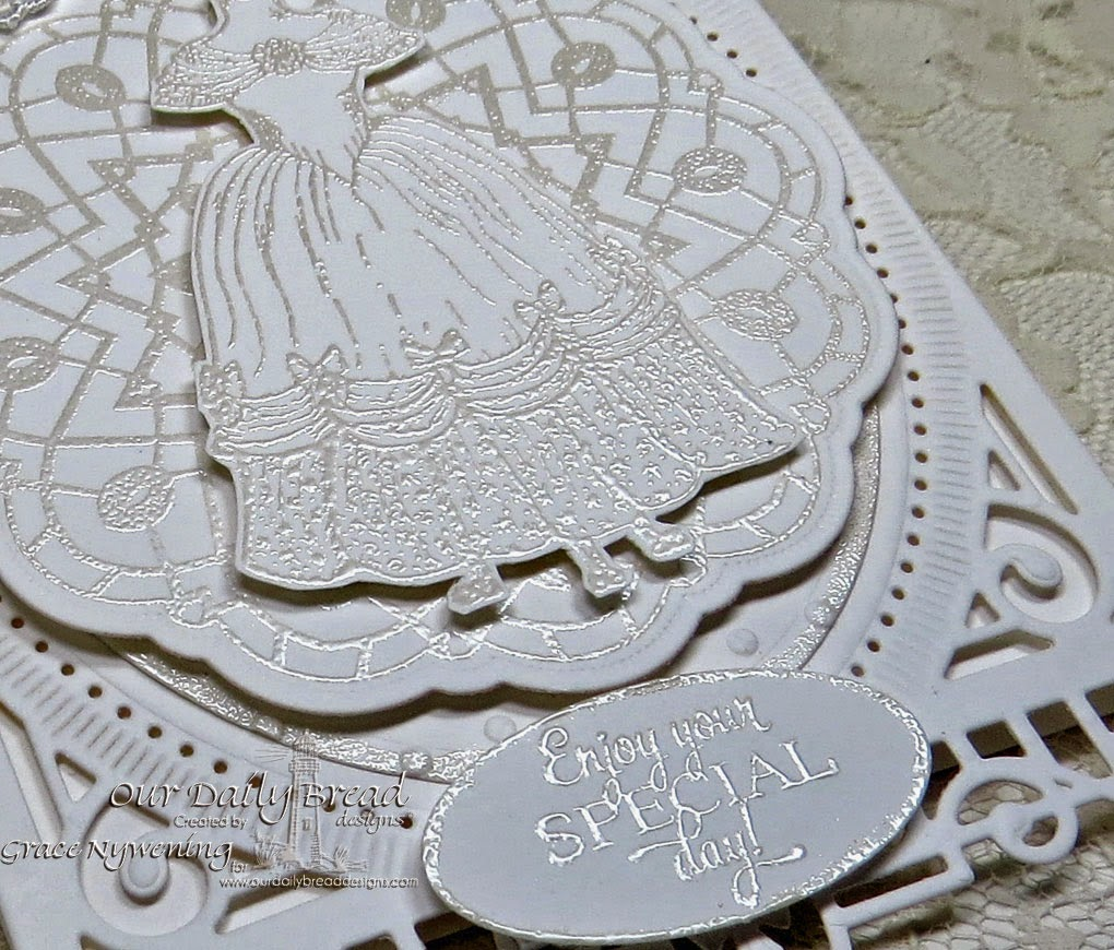 ODBD Stamps: Victoria, Doily Blessings, Birthday Doily, and doily die; designed by Grace Nywening