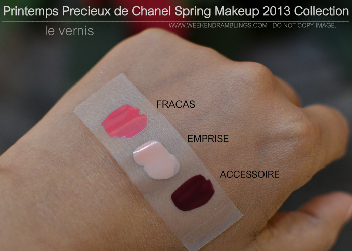 Printemps Precieux de Chanel Spring 2013 Makeup Collection Indian Darker Skin Swatches Le Vernis Nail Colour Fracas Emprise Accessoire Beauty Blog