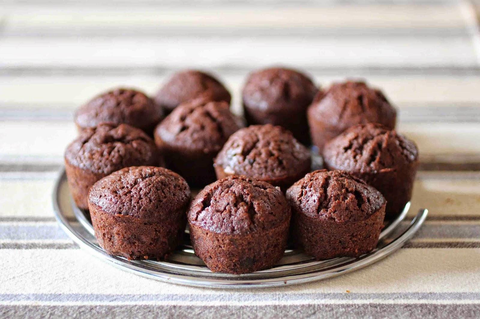 Les p'tits muffins tout chocolat