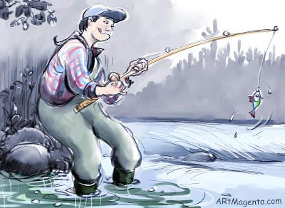 The big fish is a cartoon by cartoonist and illustrator Artmagenta