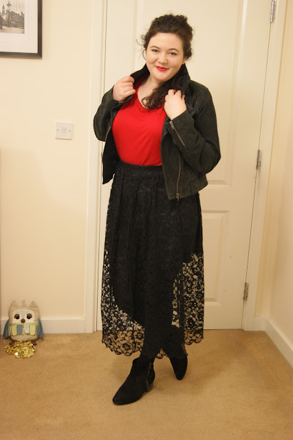 Black lace skirt, red top, leather jacket, black tights and boots 1