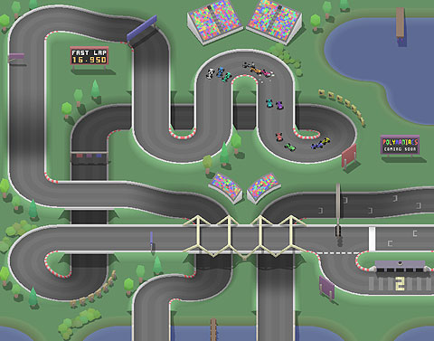 Screen shot of one-switch race game, Micro Sprint. An overhead racetrack where you can see all the cars racing.