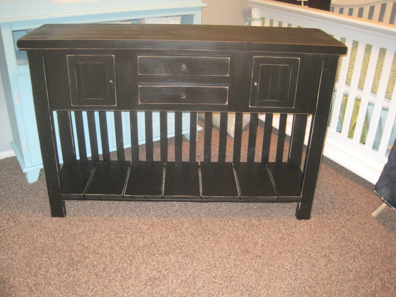 Hand Crafted Furniture Black 4 Door Entry Table