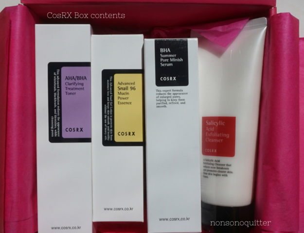 CosRX Box Unboxing Review CosRX Advanced Snail 96 Mucin Power Essence Review, CosRX BHA Summer Pore Minish Serum Review, CosRX Salicylic Acid Exfoliating Cleanser Review, CosRX AHA/BHA Clarifying Treatment Toner Review, CosRX Silk Fingerballs Review,