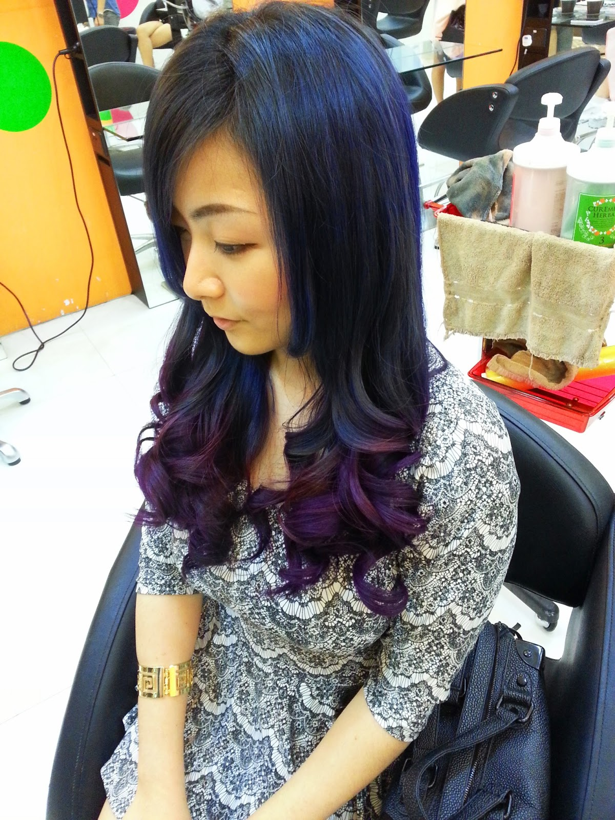 Red Purple Ombre Hair Blue and purple ombre or dip