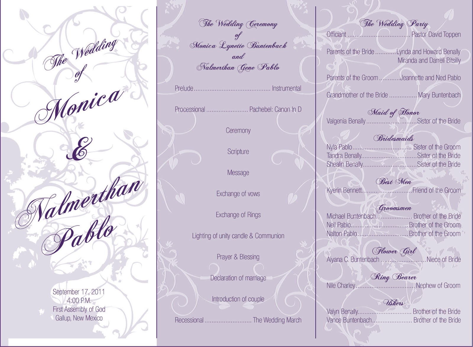 Here Is A Wedding Pamphlet That I Did For My Wedding Made Some