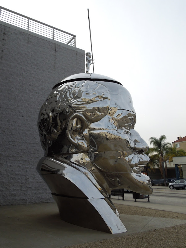 Giant Lenin Head sculpture profile