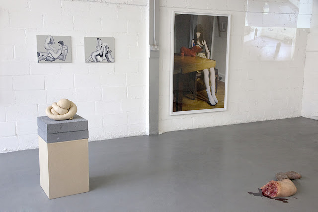 Sarah Lucas (sculpture, courtesy of Sadie Coles HQ), Konrad Wyrebek (two oil paintings), Laurie Simmons (print, courtesy of Wilkinson Gallery), Matthew Miles and Konrad Wyrebek (video), John Issacs (sculpture, courtesy of Aeroplastics Contemporary)