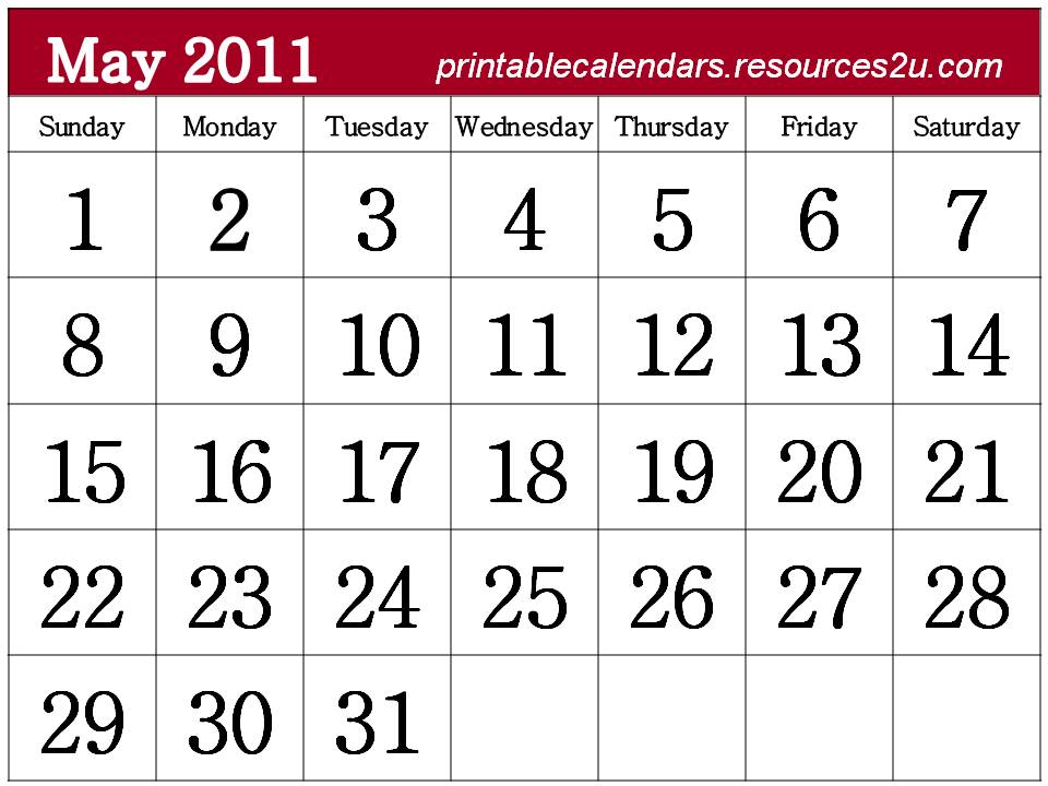 2011 calendar template printable. May 2011 Calendar template