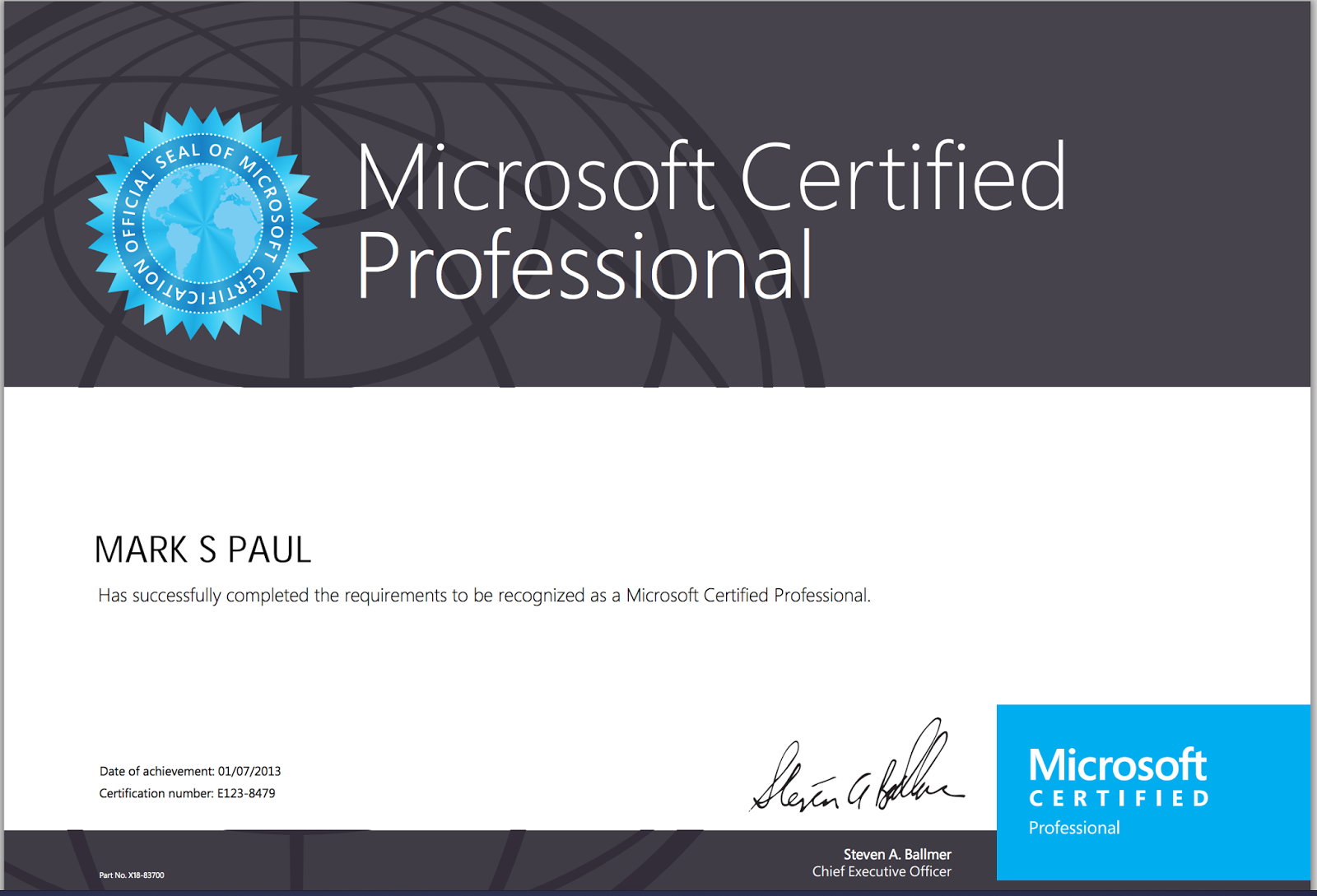 Front end junkie im a microsoft certified professional i did known i was an mcs microsoft certified specialist in html5 javascript and css3 but was surprised that this also made you an mcp xflitez Image collections