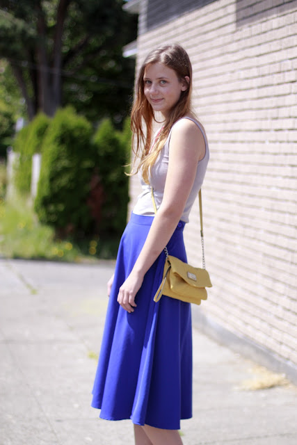 Seattle Street Style Blue Midi Skirt Kendall