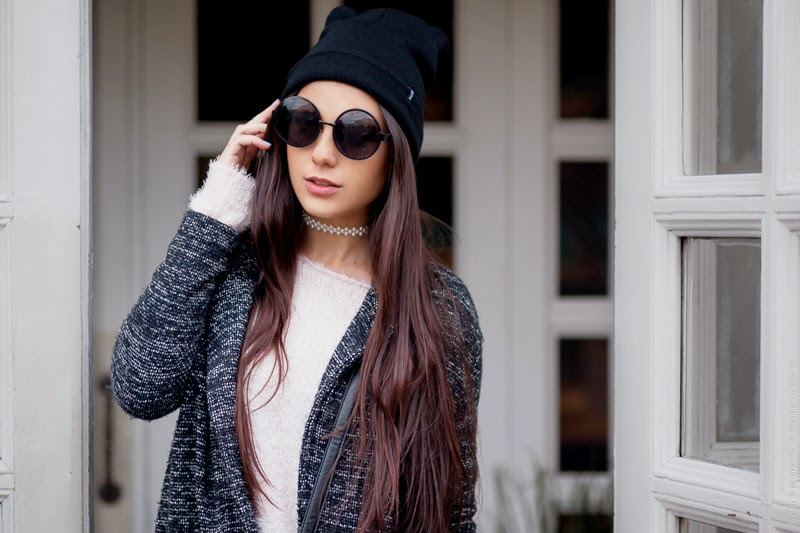 big round sunglasses, cat ear hat, long hair, blogger