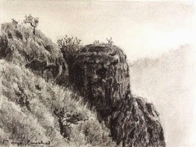 Charcoal sketching of Matheran Landscape using willow charcoal. By Manju Panchal