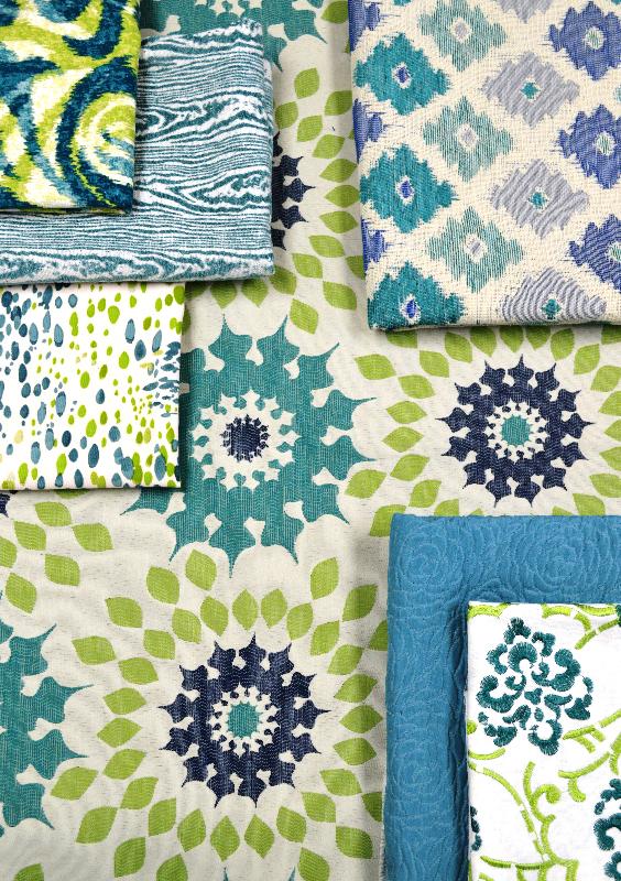aqua and green fabrics