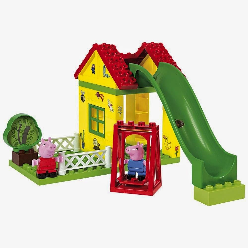 TOYS : JUGUETES - PEPPA PIG  El Parque de Juegos de Peppa y George  Producto Oficial | Simba 4344544 | Edad: 1,5 -5 años  33 piezas | Juego de construcción