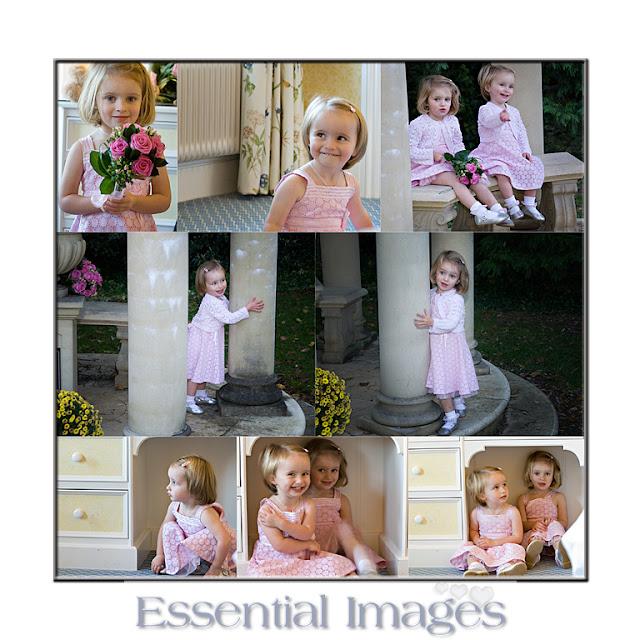 Cute little bridesmaids play hide and seek