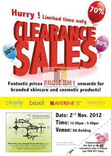 Clinelle Averine Skincare & Cosmetic Clearance Sales 2012