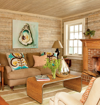 cottage living room with colorful art