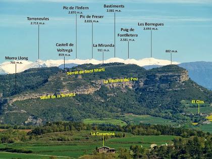 El Serrat de Sant Martí amb el Pirineu de Núria al fons