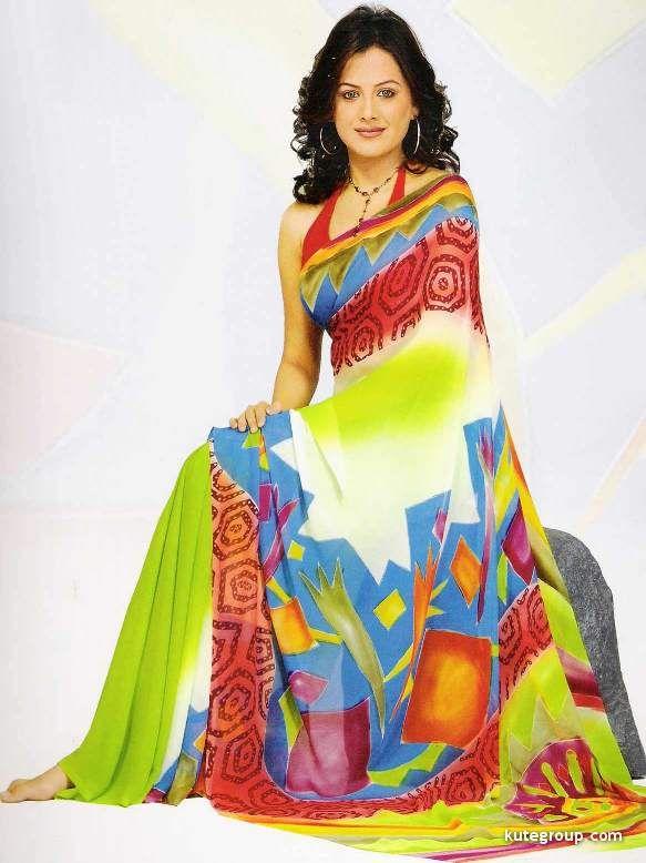 Girls Latest Fashion Printed Sarees Designs
