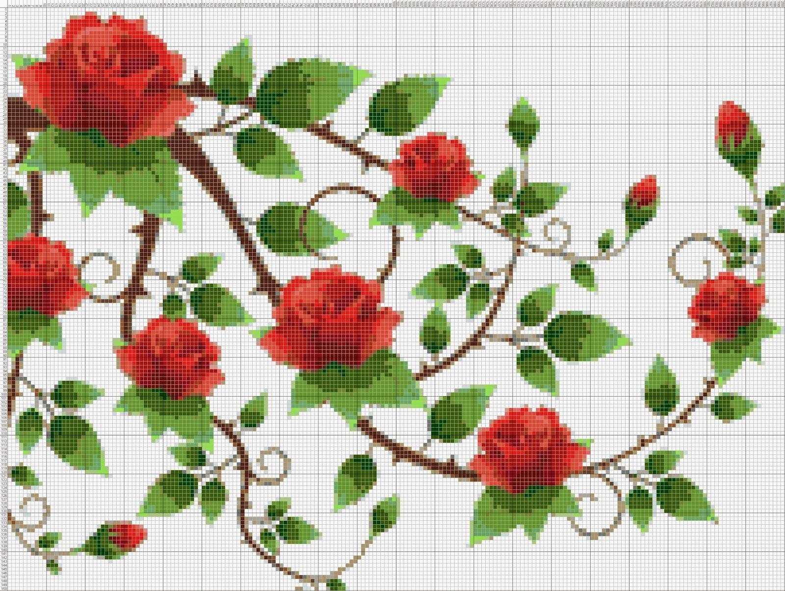 Gambar Pola Kristik Bunga Mawar Merah Rimbun
