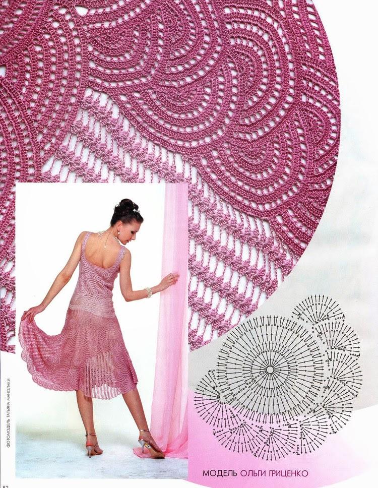 Falda acampanada al crochet con un diseño muy original