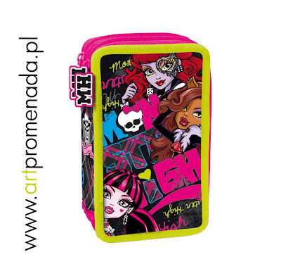 monster high piórnik z wyposażeniem dwukomorowy licencja Mattel 2013 r.