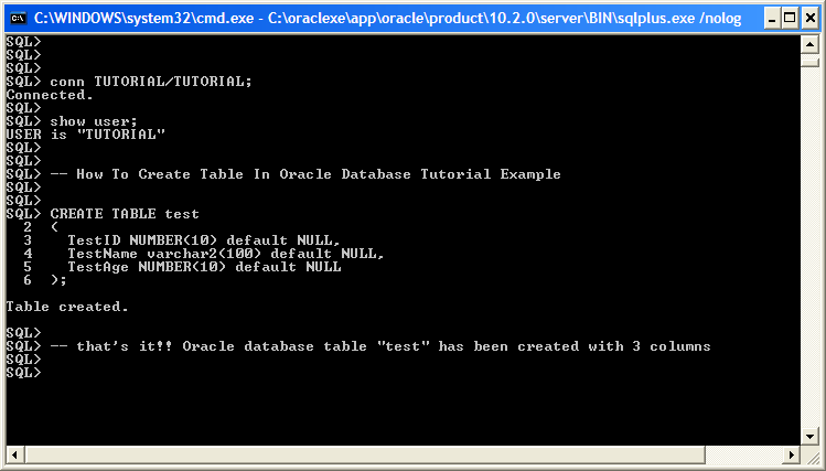Examples create table oracle database tutorial example for Table design oracle