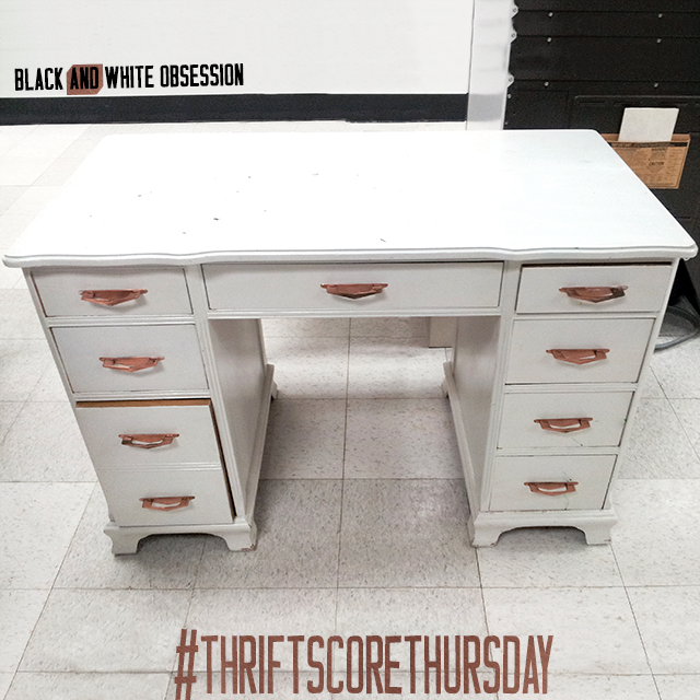 #thriftscorethursday Week 12 Desk with Boomerang Copper Drawer Pulls | www.blackandwhiteobsession.com