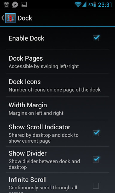 Dock settings