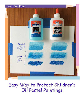 Tickled by the Creative Bug - Easy Way to Protect Children's Oil Pastel Paintings: Link to blog post