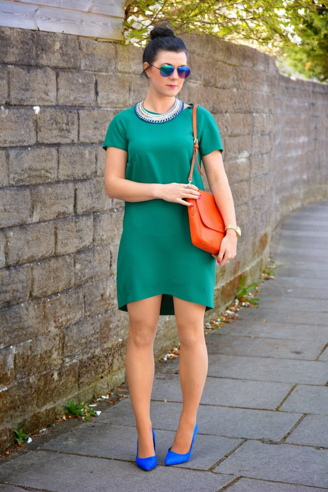 Green and blue dress shoes
