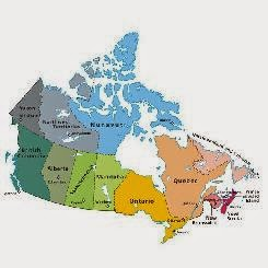Click the map of Canada to read the Site Map for LGBT Canada