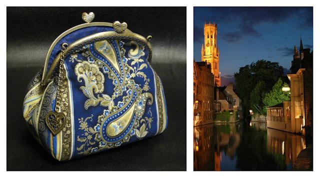 """Женская сумочка на цепочке """"Синее золото"""", косметичка клатч с фермуаром, ширина фермуара 16 см"""