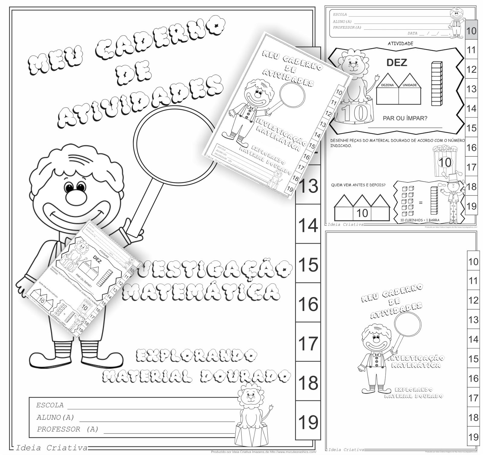 Cadernos de Atividades Investigação Matemática Explorando Material Dourado Vol I Vol II e Vol III