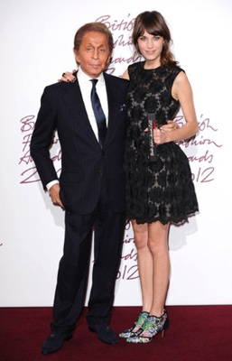 Valentino and Alexa Chung at the British Fashion Awards 2012