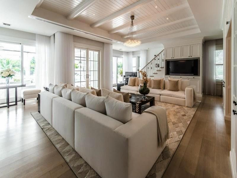 White living room in Custom built celebrity home for Celine Dion
