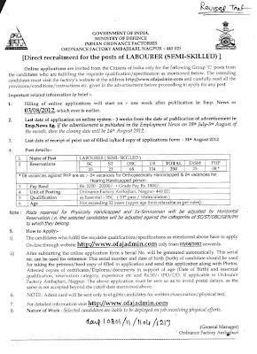 Ambazari Nagpur Ordnance factory 2012 Recruitent