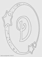 Mewarnai Gambar Huruf Alfabet D Bergaya Bulan Bintang
